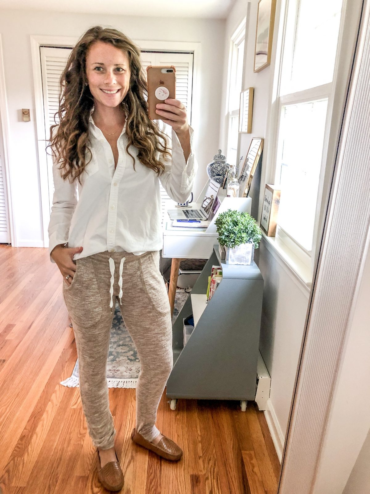 Easy Mom Outfit or How to Style Joggers with a White Oxford - Fall Outfits Style Session by Caitlin Houston