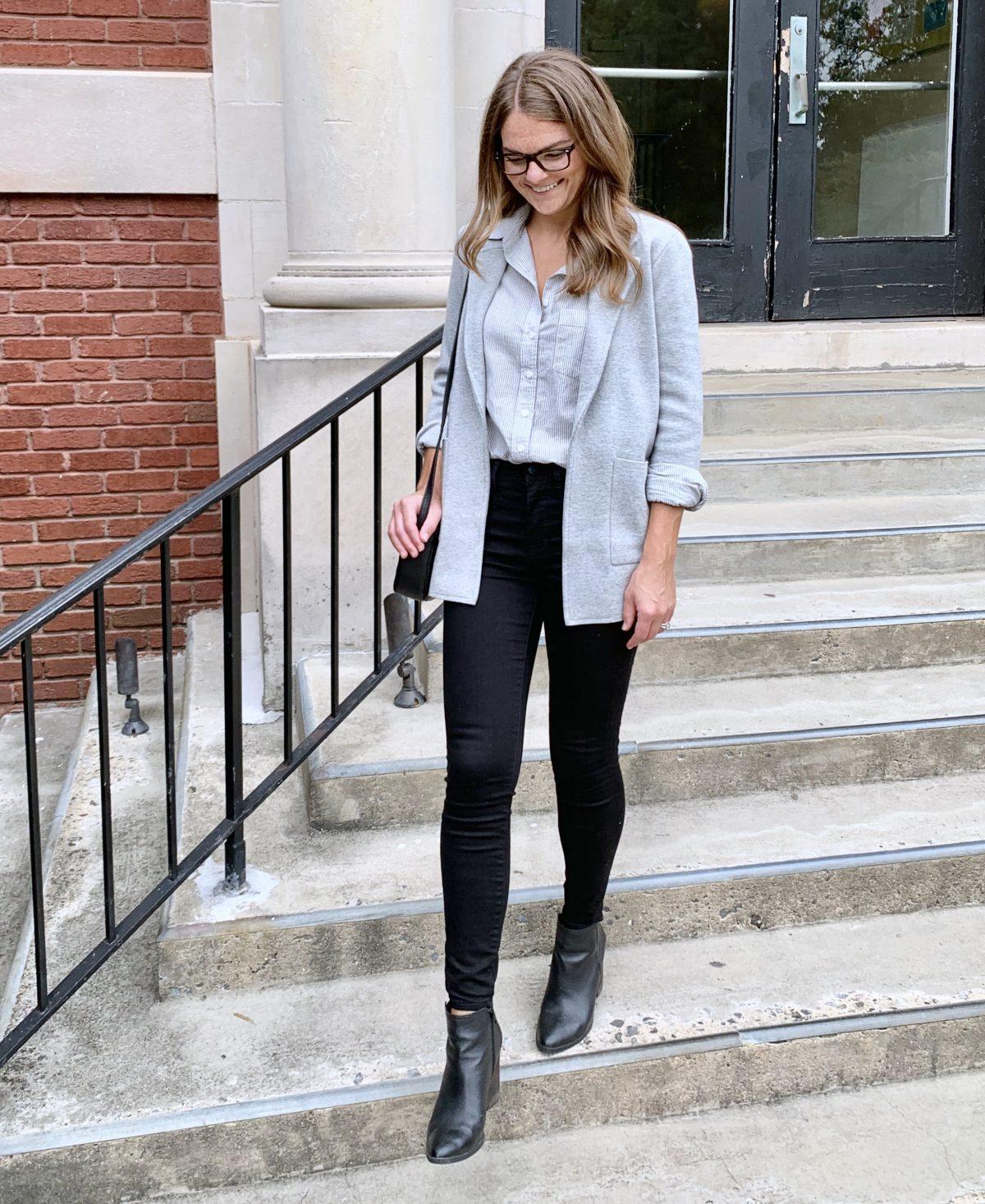 Grey Sweater Blazer, Blue Striped Button Up, Black Pants, Black Boots