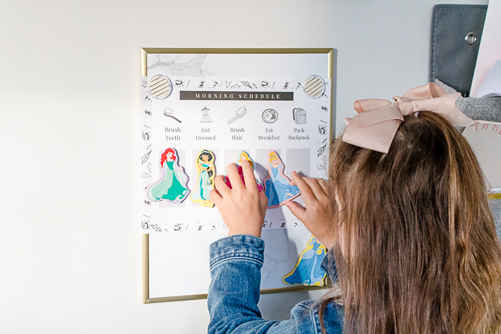 little girl with Printable Morning Schedule