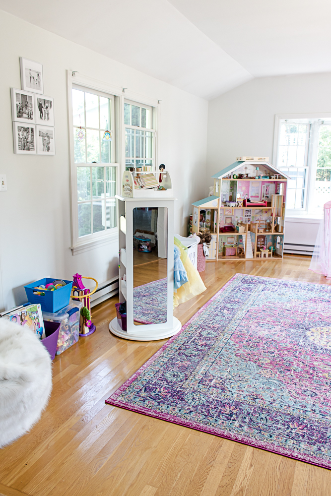 Pink Playroom Rug and Organization Tips