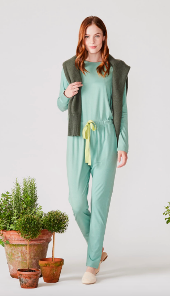 Long Sleeve Pajamas in Meadow with Ribbon Tie Lake Pajamas