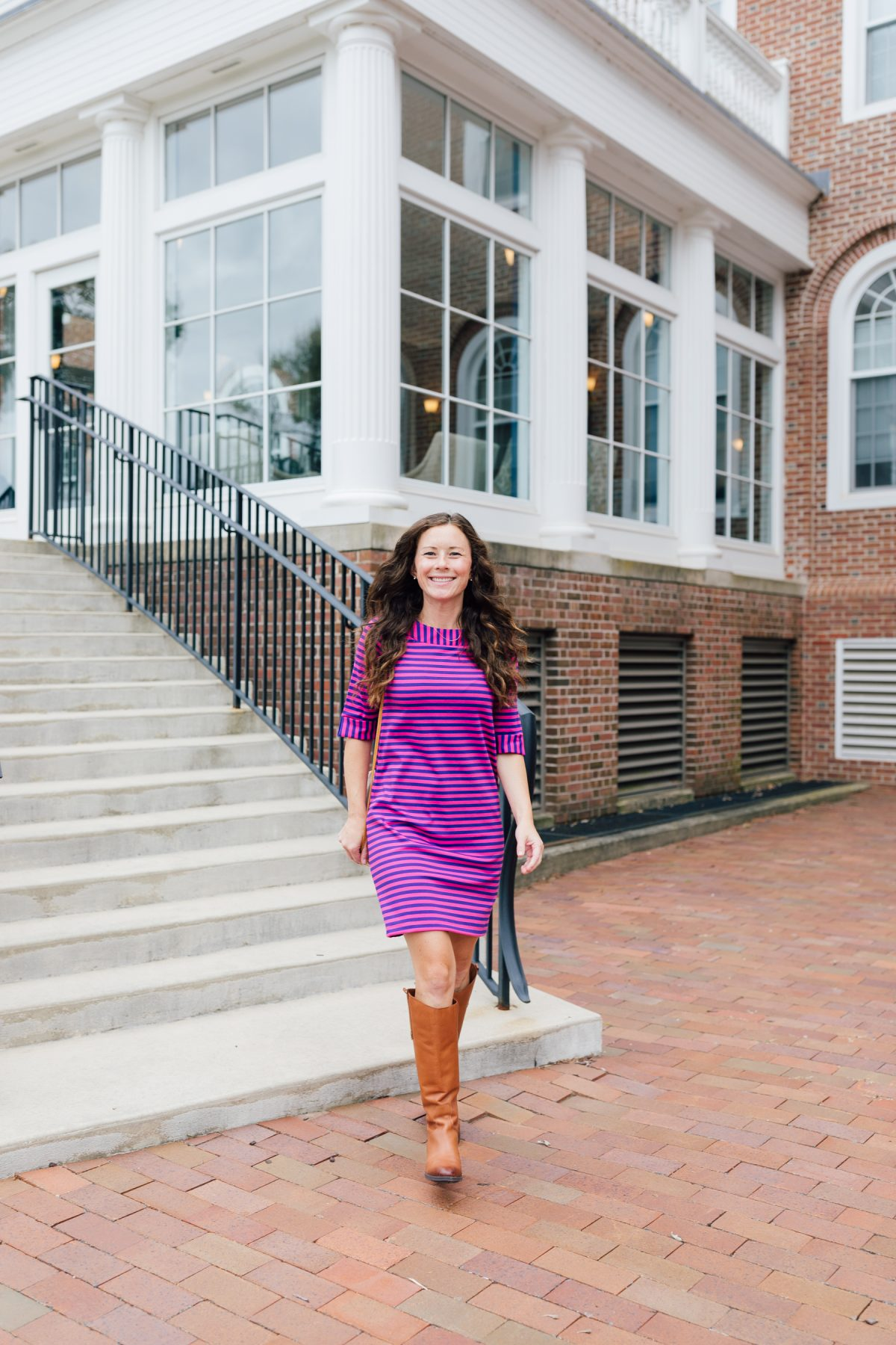 Magenta and Navy Striped Ruffle Sleeve dress with Leather Riding Boots