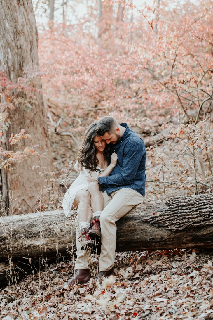 Romantic Photo in Woods of a Couple