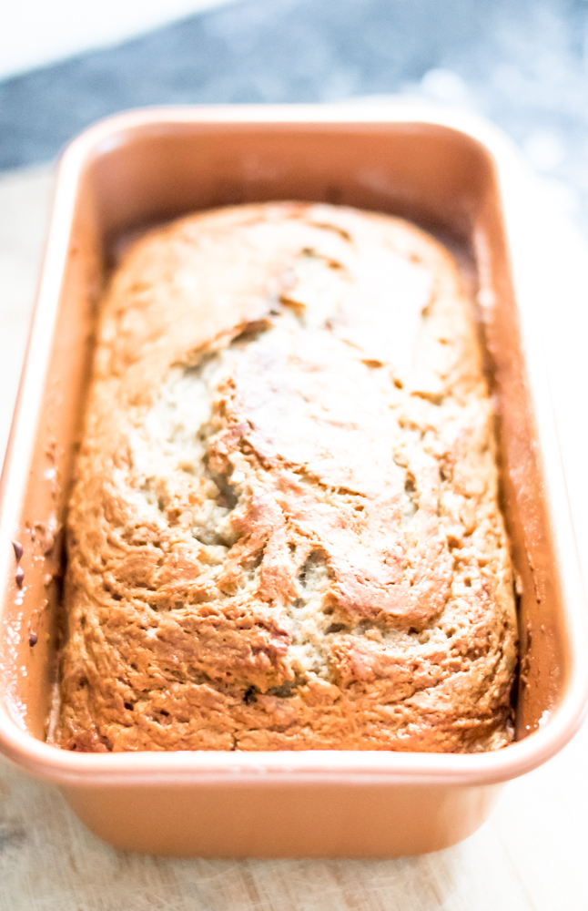 Dairy Free Banana Bread in Copper Loaf Pan