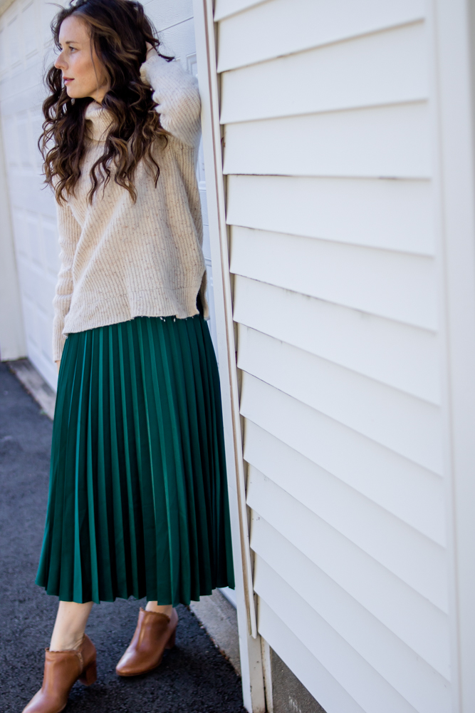 Turtleneck Sweater and Pleated Skirt by Caitlin Houston Blog