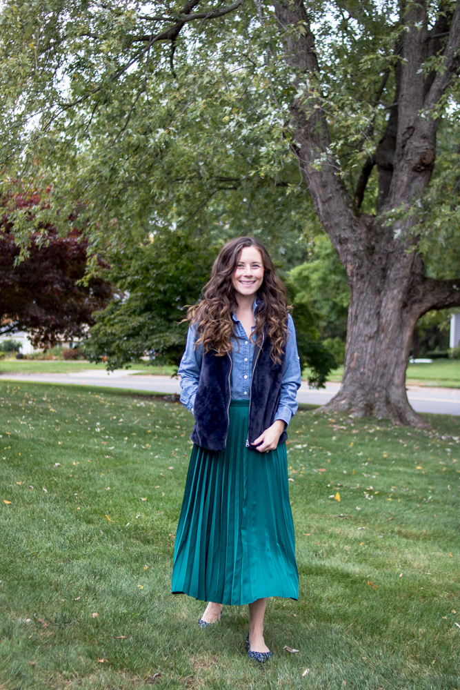 How to wear a Maxi Skirt in the Fall - Pair a Chambray Button Up with a Fur Vest and a Maxi Skirt by Caitlin Houston Blog