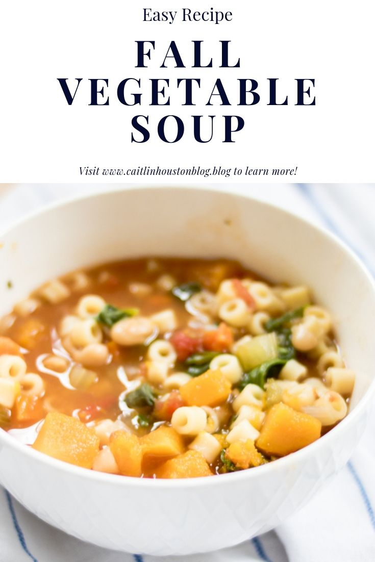 Fall Vegetable Soup with spinach and butternut squash