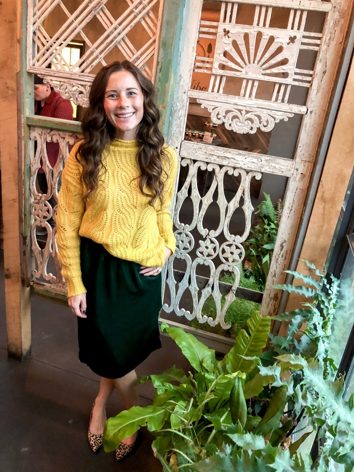 Yellow Cable Knit Sweater and Green Velvet Pull on Skirt JCrew