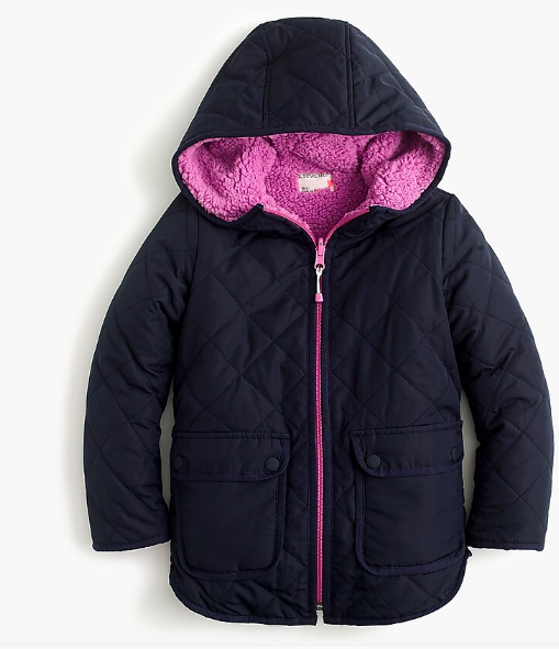 Girls' reversible quilted sherpa jacket with eco-friendly Primaloft®