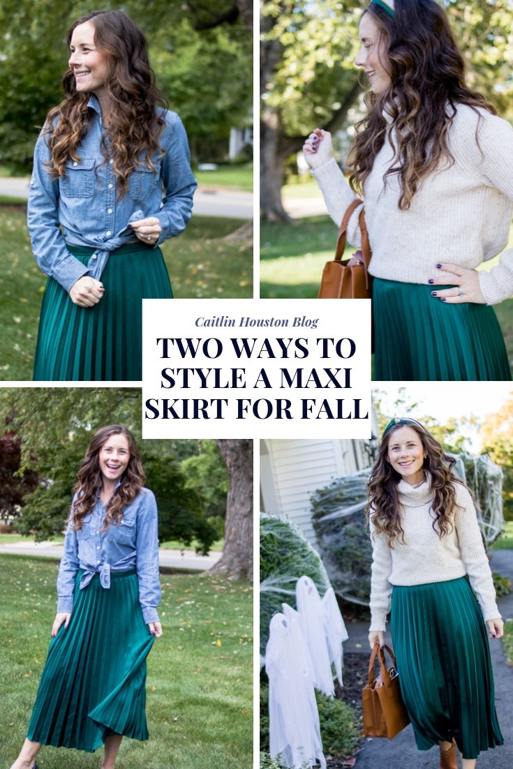 Maxi skirt with chambray button up and maxi skirt with turtleneck sweater