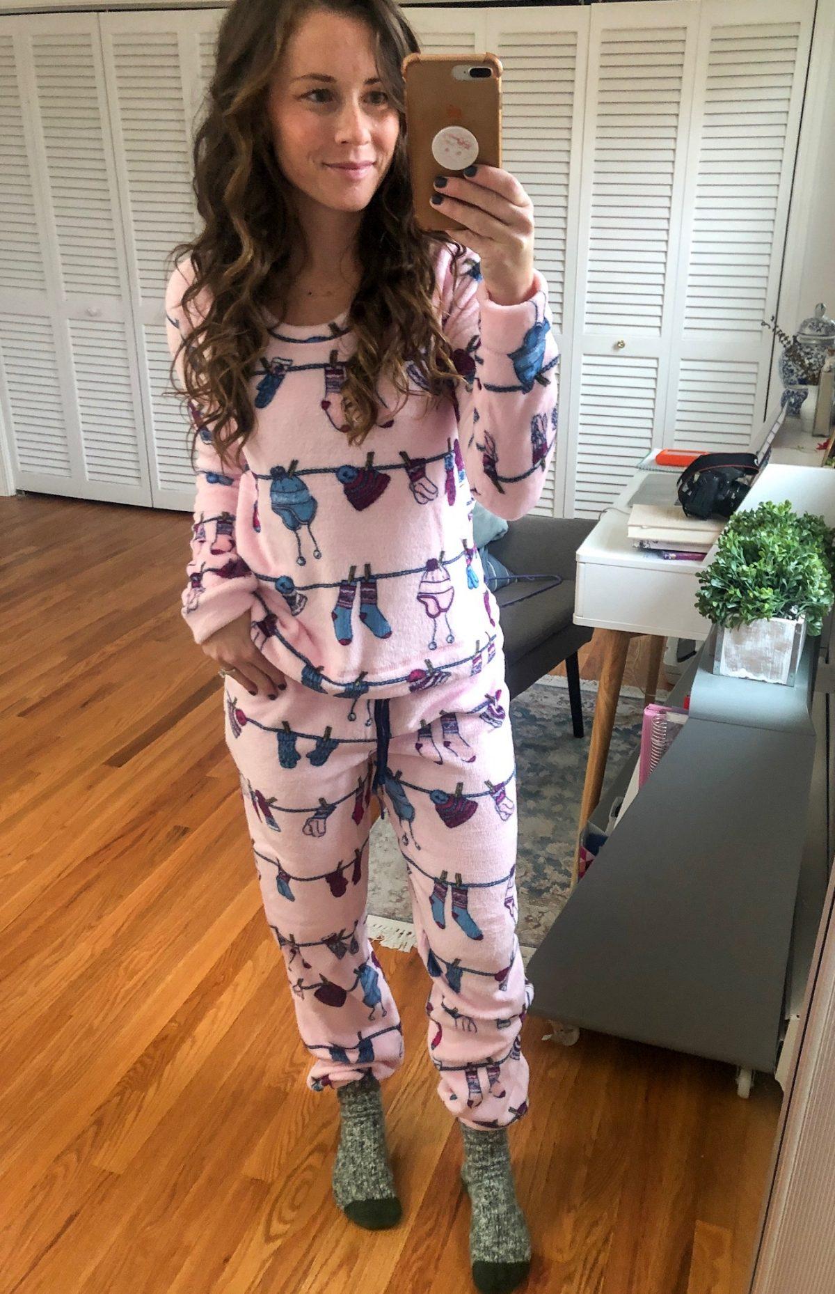 Mae Christmas Pajamas - winter pajamas - fleece pullover and joggers in winter cozy pattern