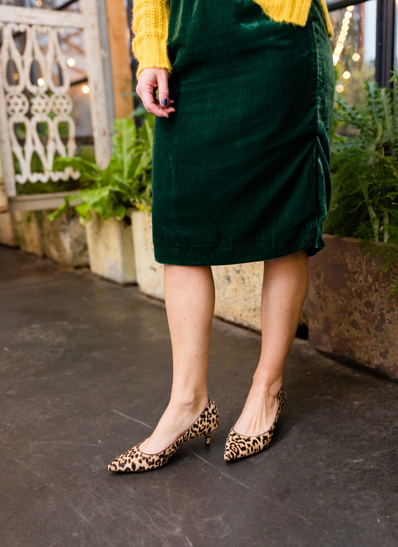 leopard print heels with green velvet skirt