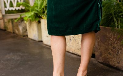 leopard print heels with green velvet skirt