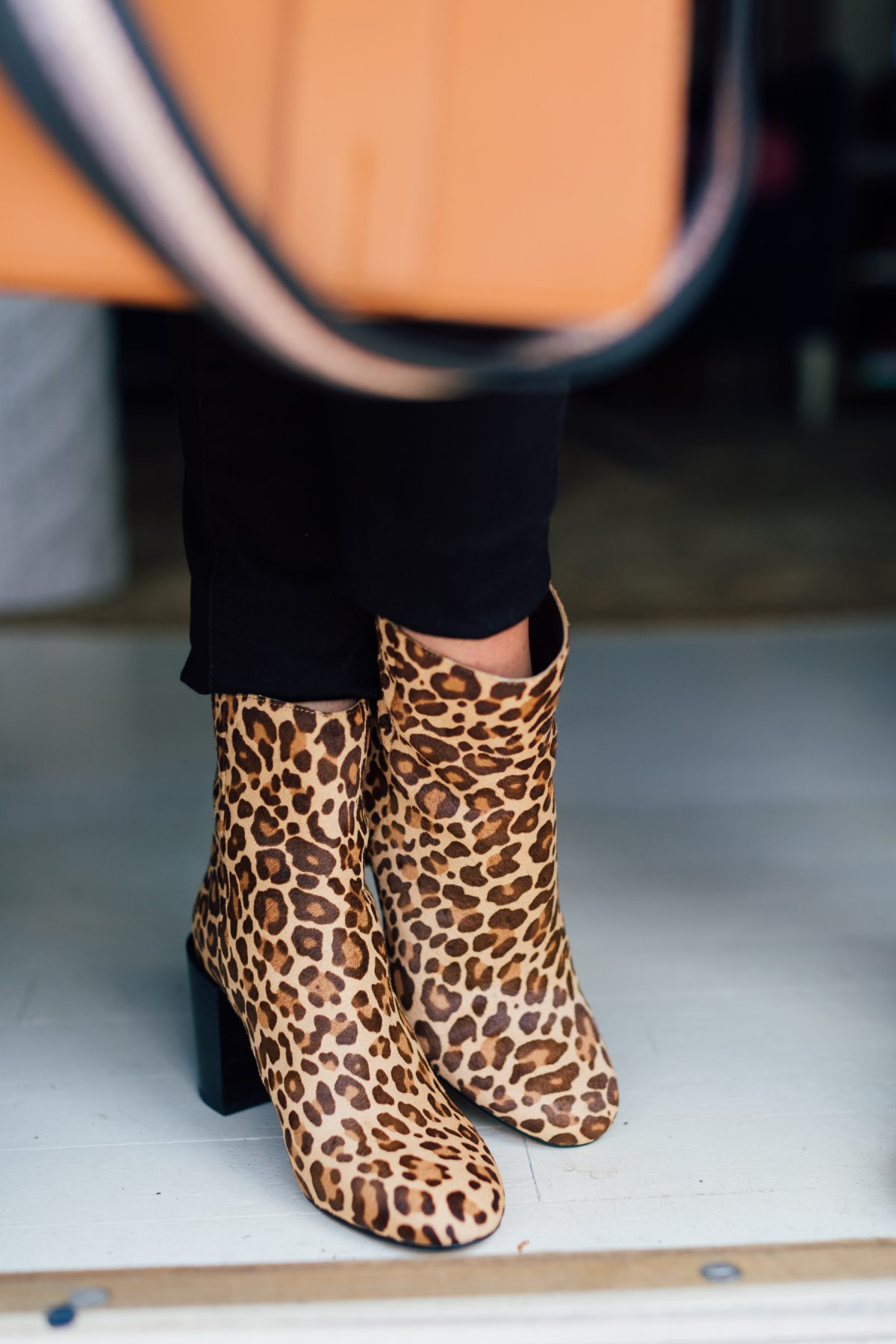 Leopard Print Booties with a Block Heels and Black Denim