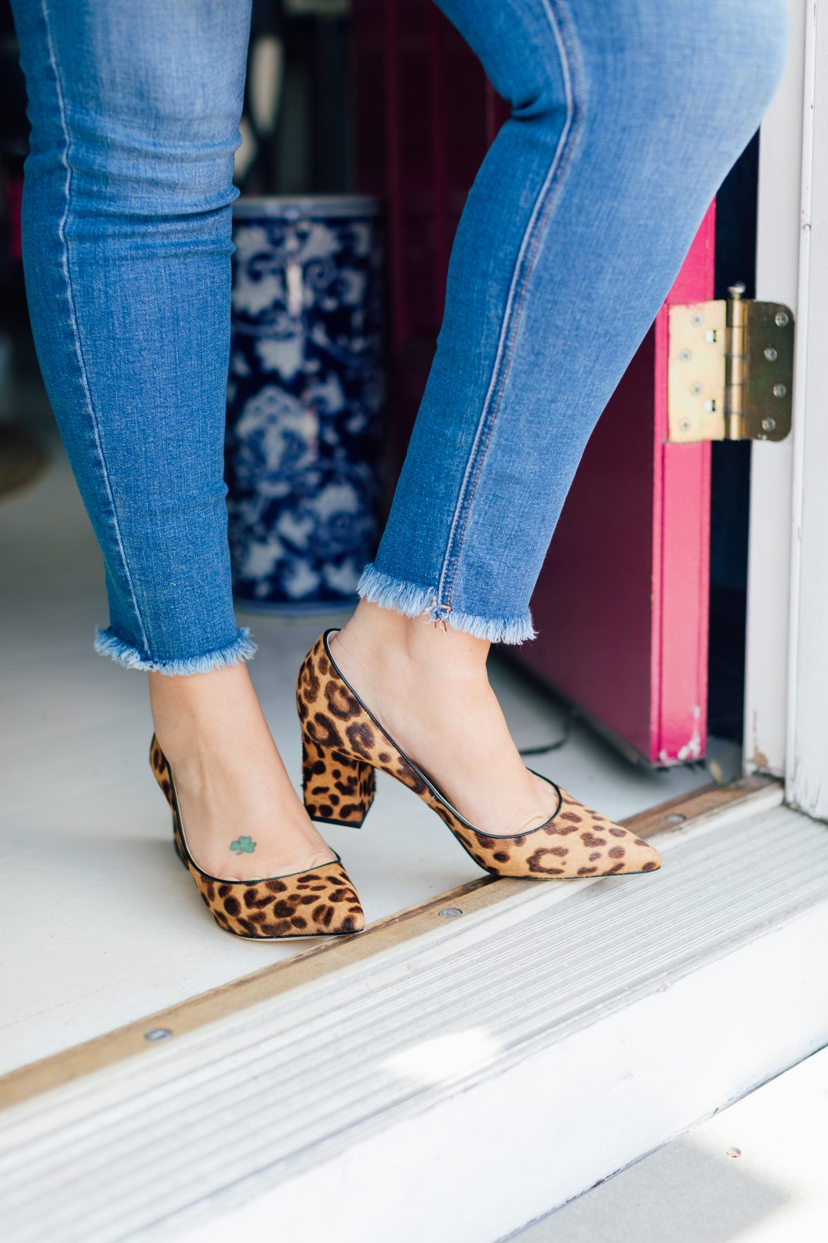 Leopard Print Block Heels and Frayed Denim