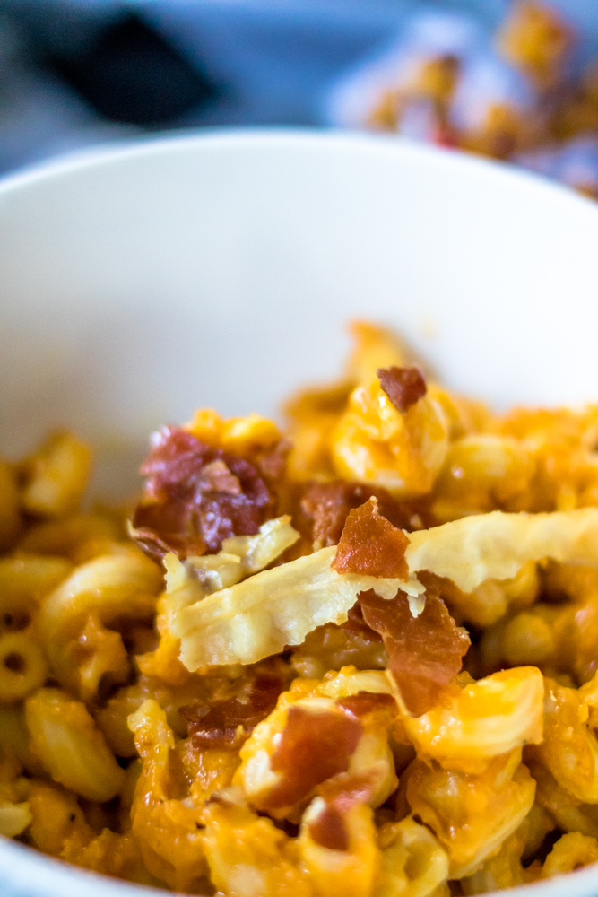 Pumpkin Macaroni and Cheese with proscuitto crumbles on top