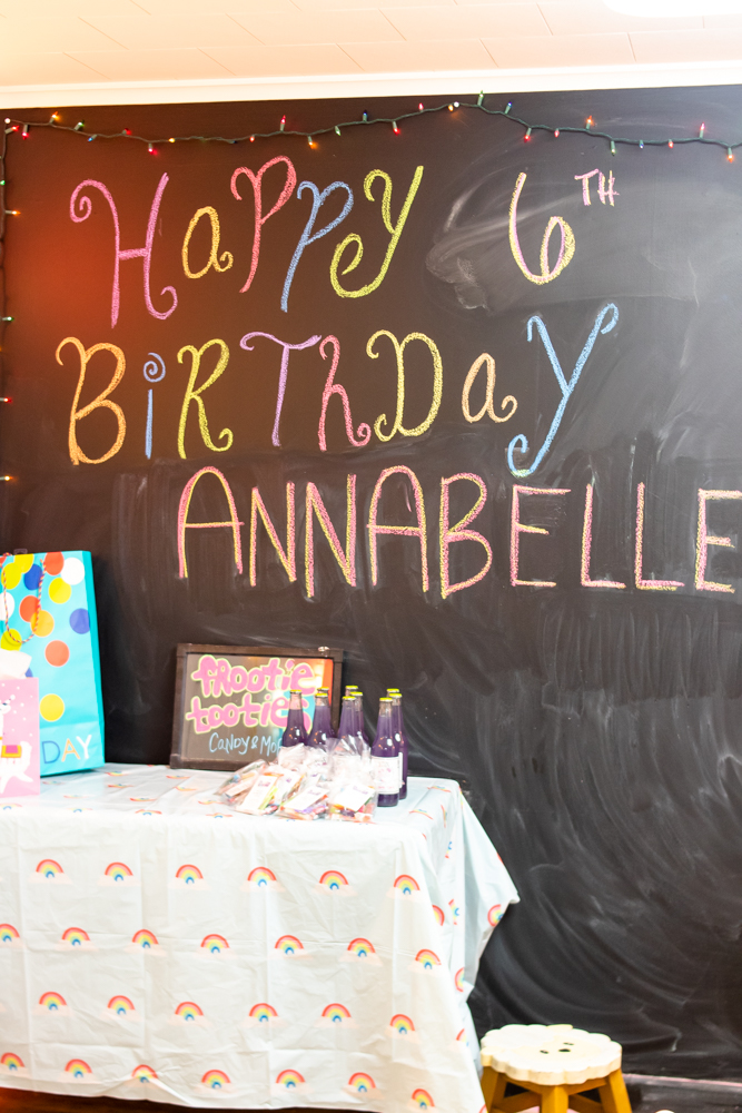 chalkboard sign happy 6th birthday annabelle presents and goody bags