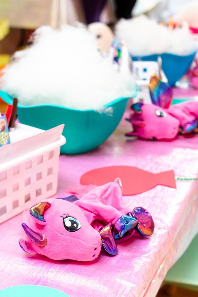 pink unicorn stuffed animal before being stuffed