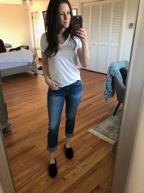 white whisper tee and cuffed cropped jeans