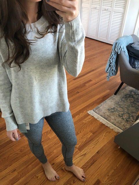Grey side slit sweater with grey zella leggings