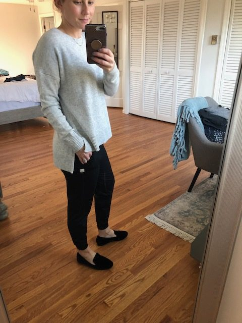 Grey Sweater and Black Joggers
