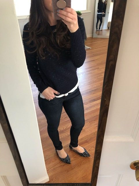navy pointelle sweater and jeggings