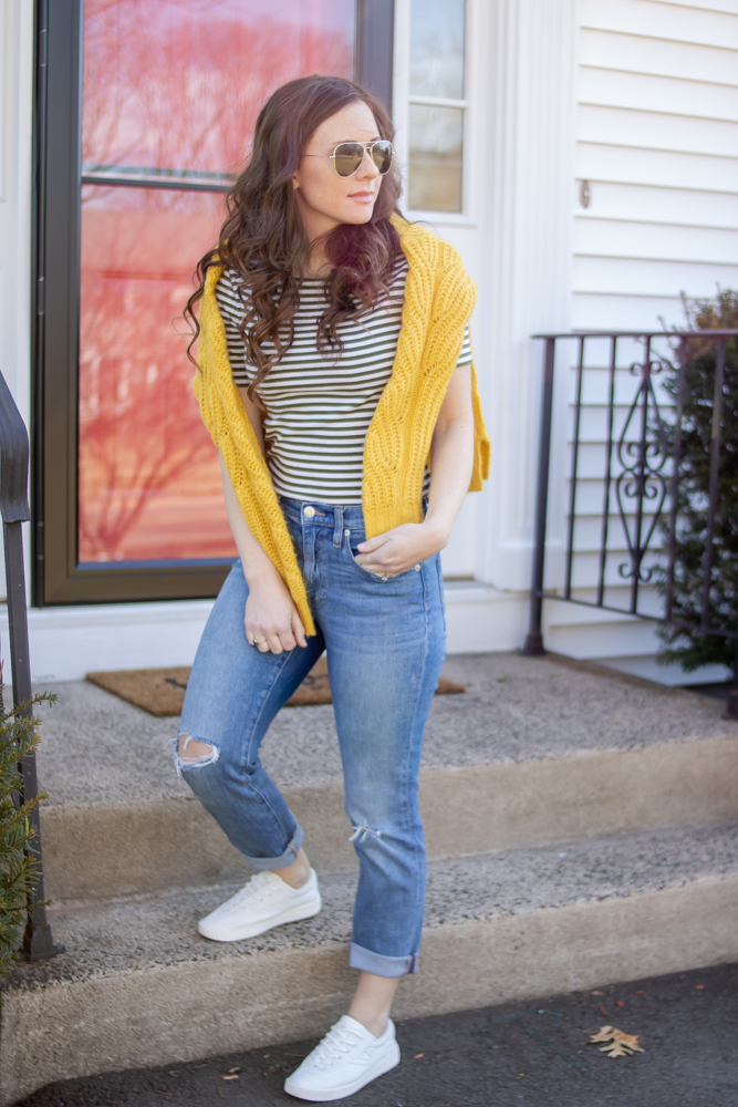 Boyfriend Jeans, Striped Shirt, Yellow Sweater, and Tretorn Sneakers