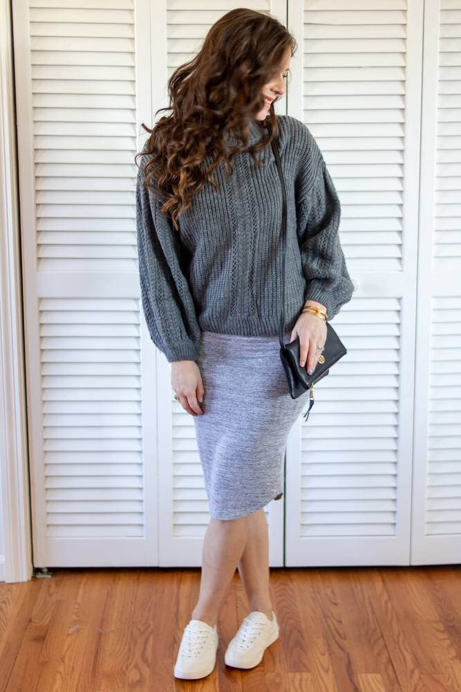 Gray sweater, gray bodycon dress, black tory burch purse, white tretorn canvas sneakers