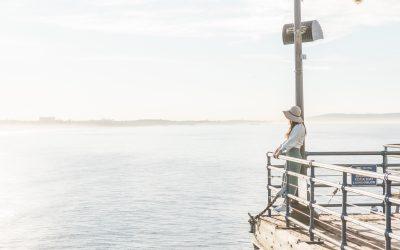 woman overlooking santa monica beach