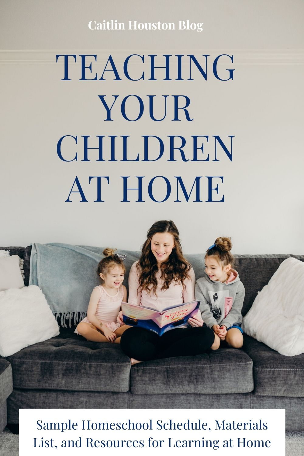 Mom Teaching Kids with Reading at Home on the Couch