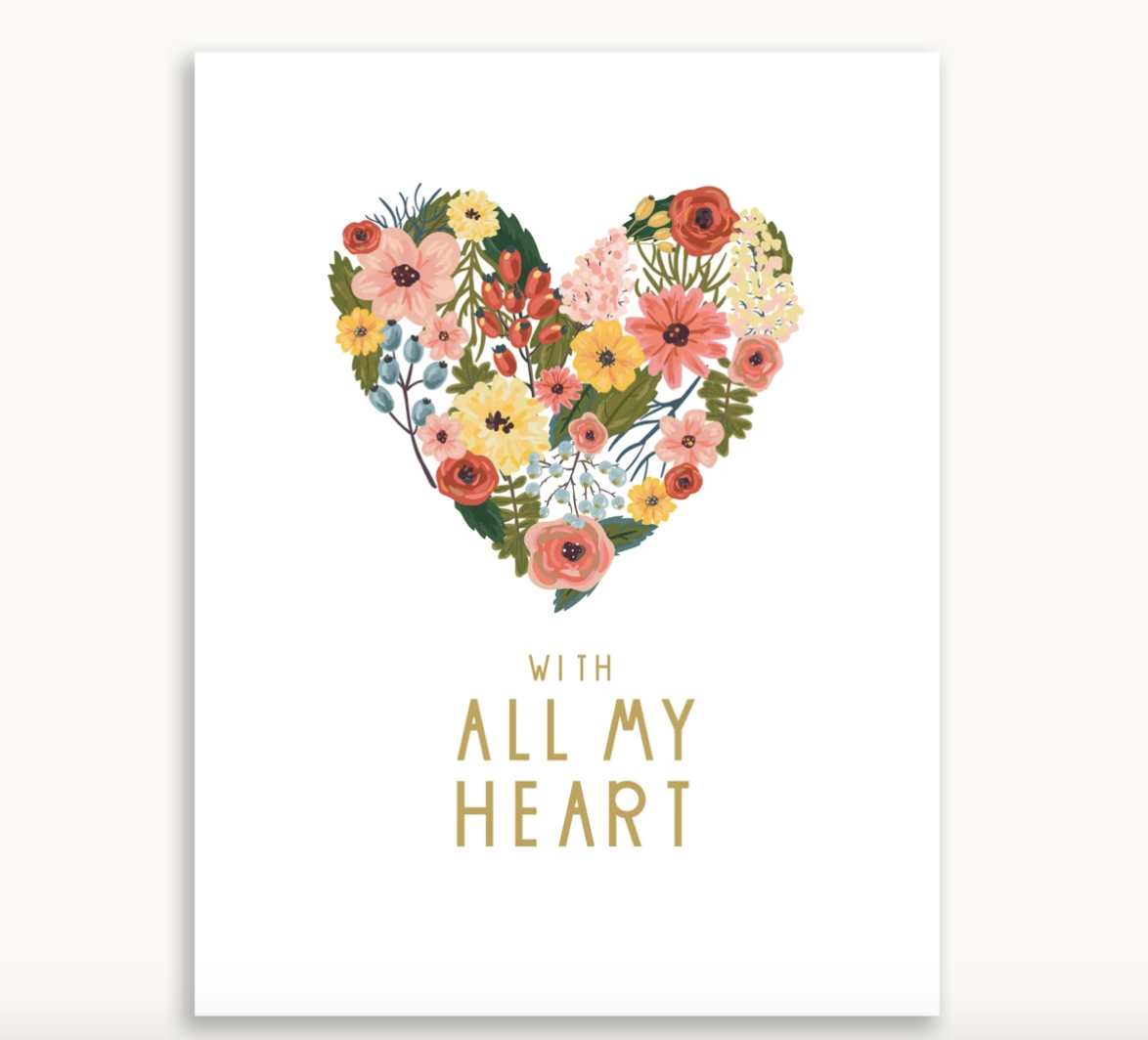With all my Heart Greeting Card