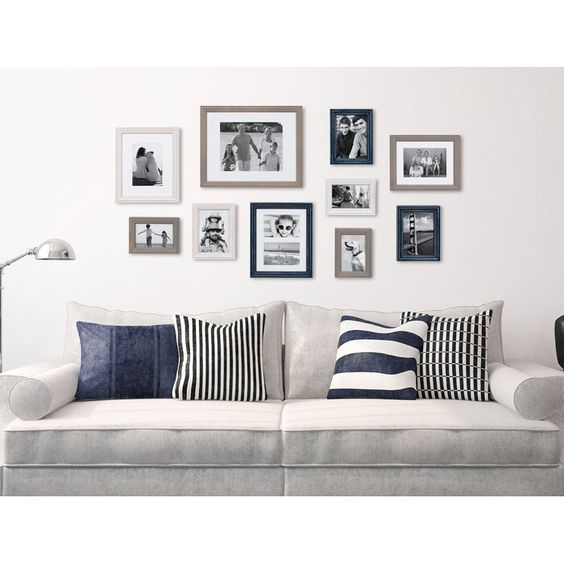 Gallery Wall Family Photos Navy Gray and Black