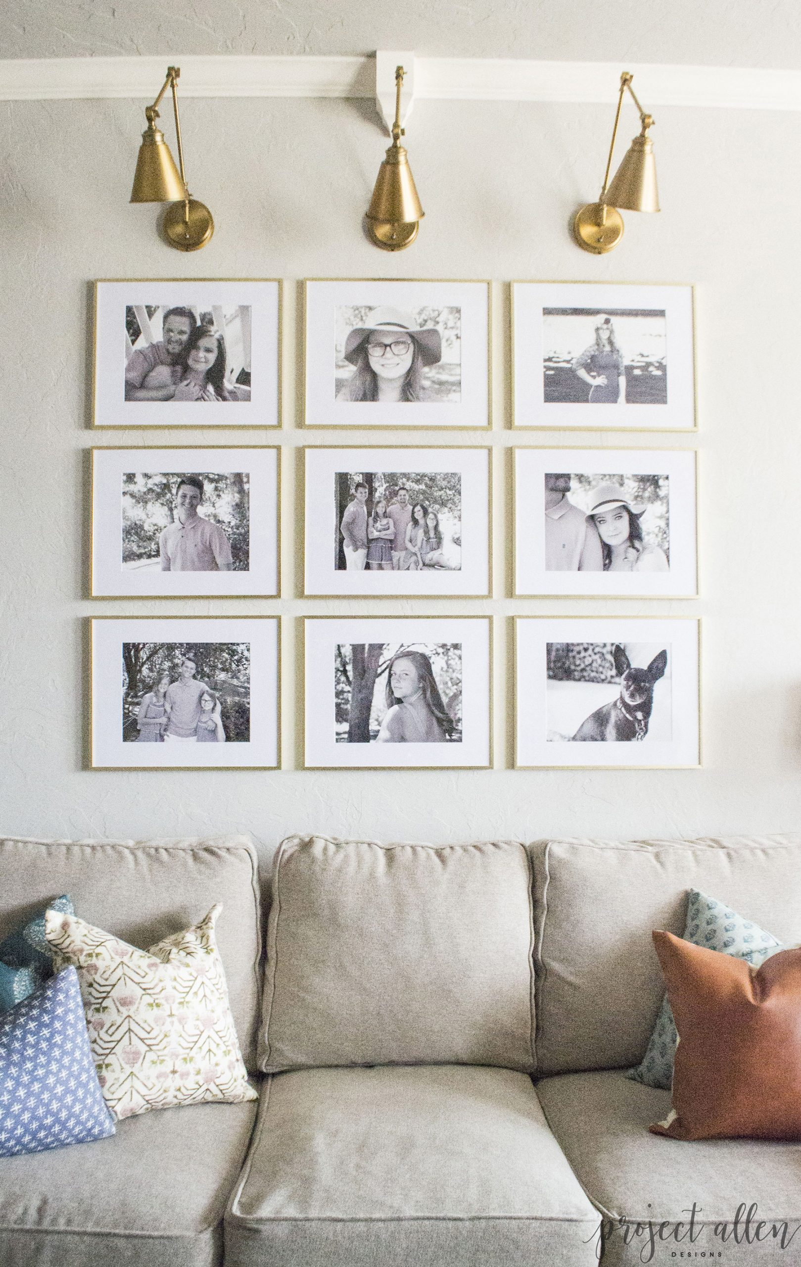 Gallery Wall Family Photos with Spotlights