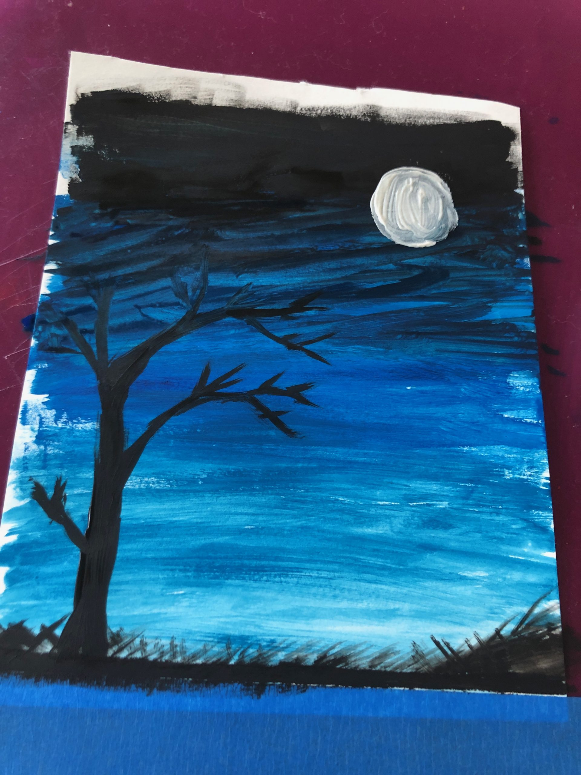 gouache painting night sky