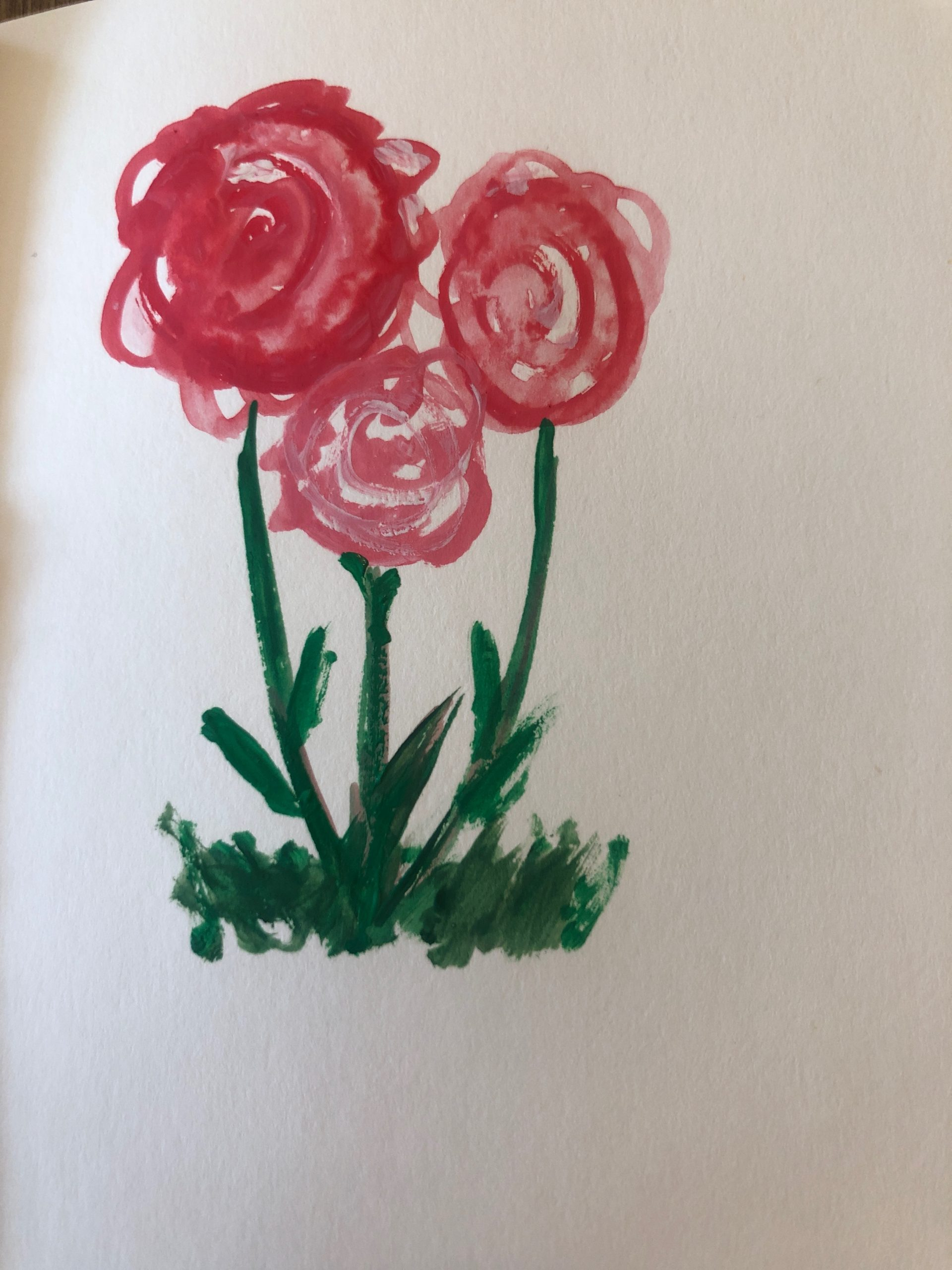 pink gouache flowers