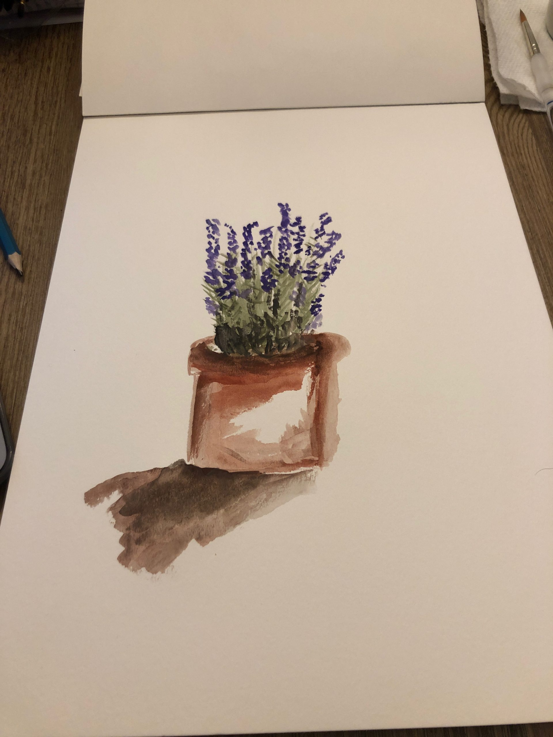 watercolor lavender potted plant