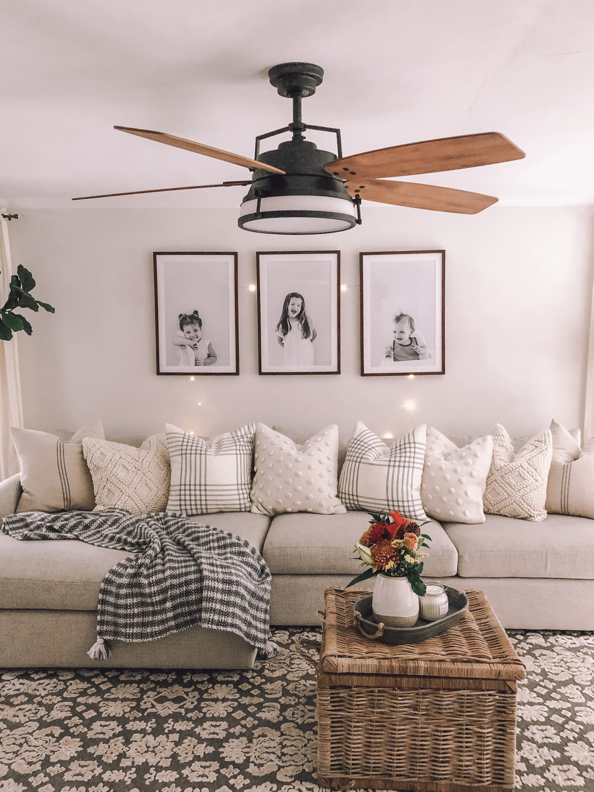 Three Large Photos Above Couch