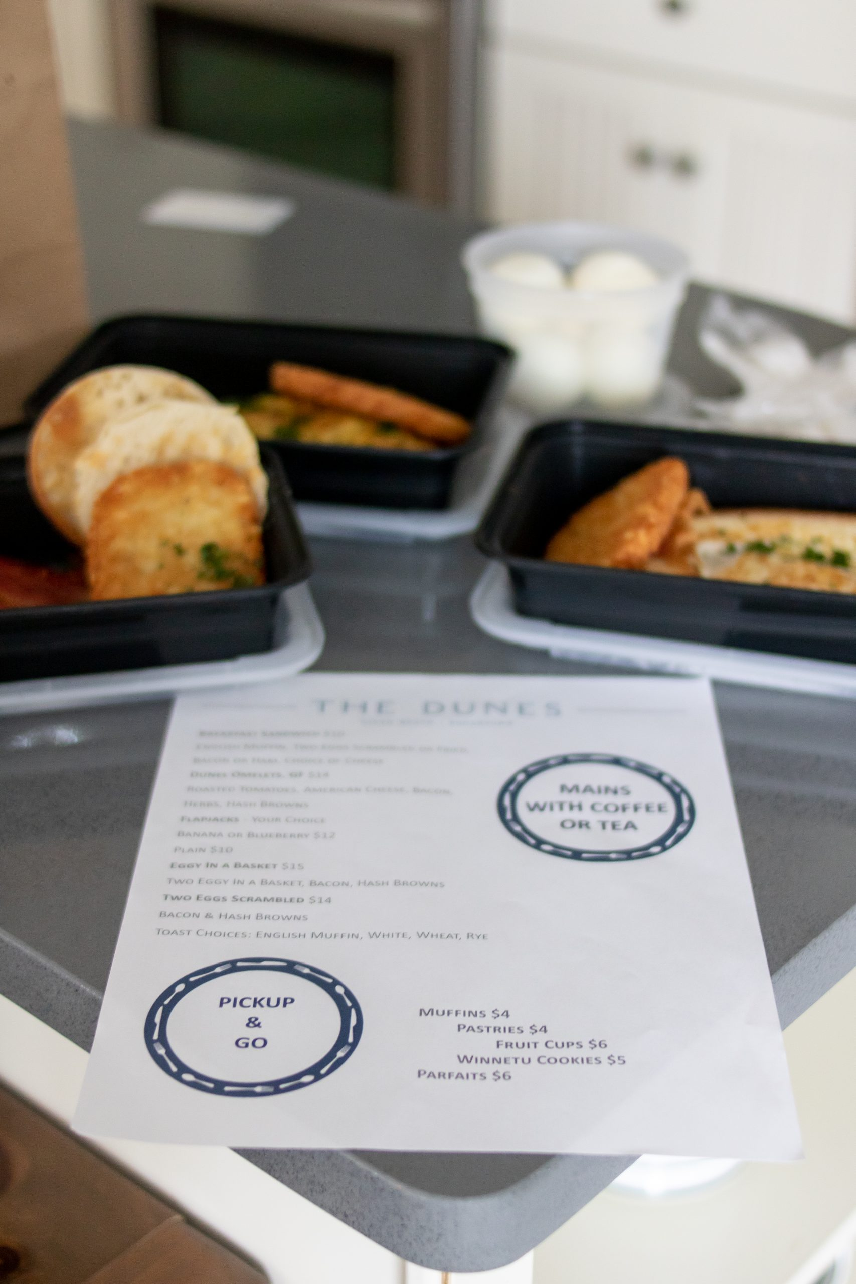 breakfast and pickup and go menu at Winnetu Oceanside Resort