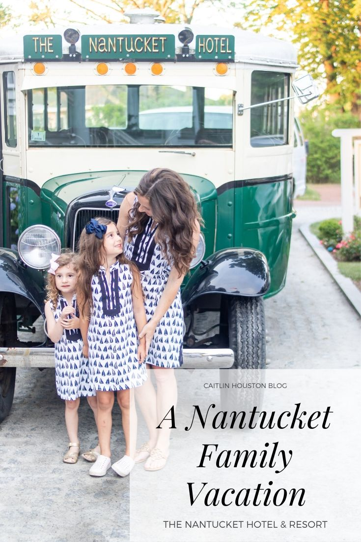 mom and daughters at the Nantucket Hotel and Resort antique bus