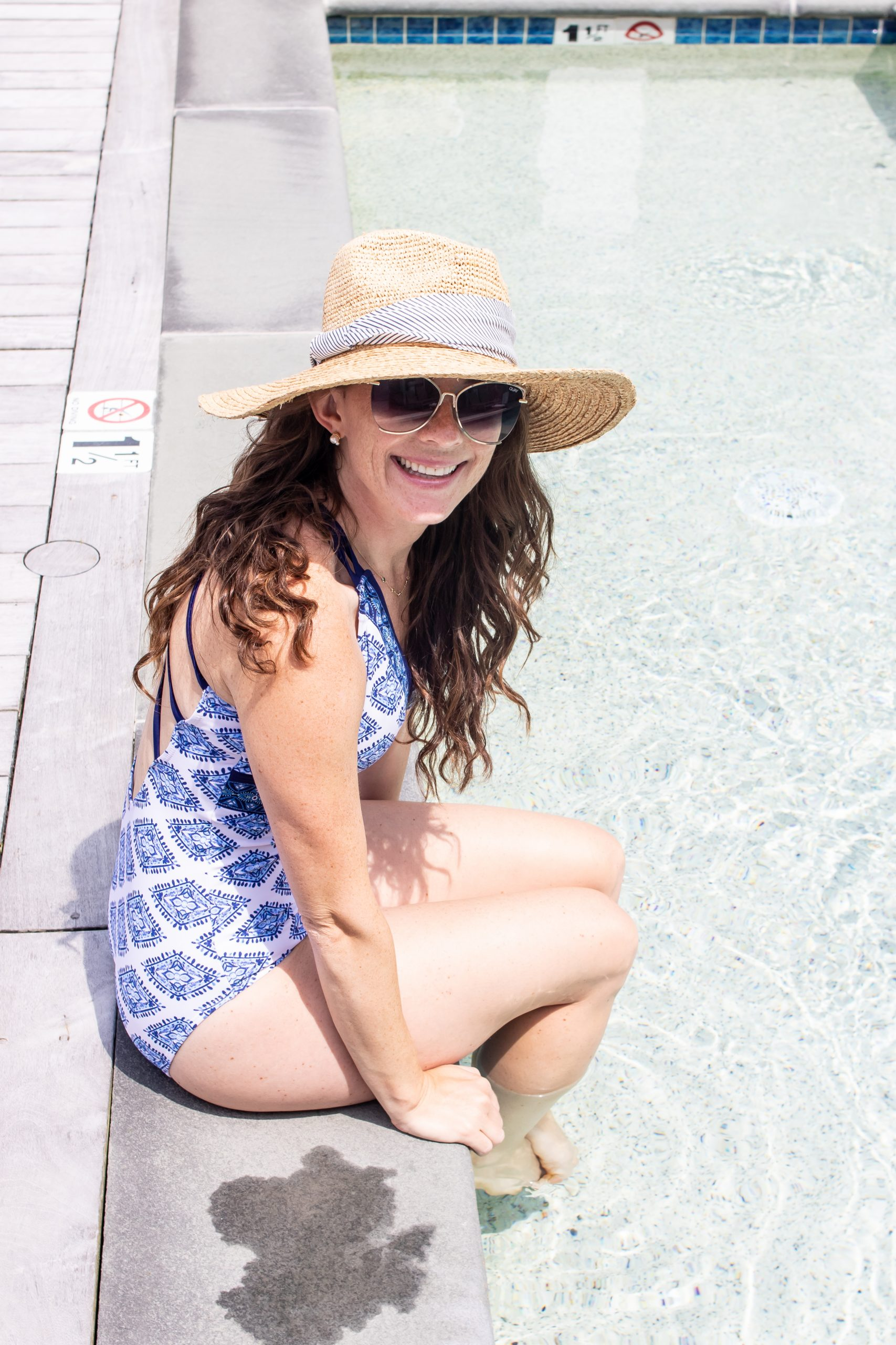 Woman wearing sun safe Cabana life bathing suit at the Nantucket Hotel and Resort