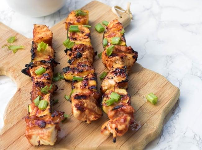 summer Grilled BBQ Chicken Kabobs