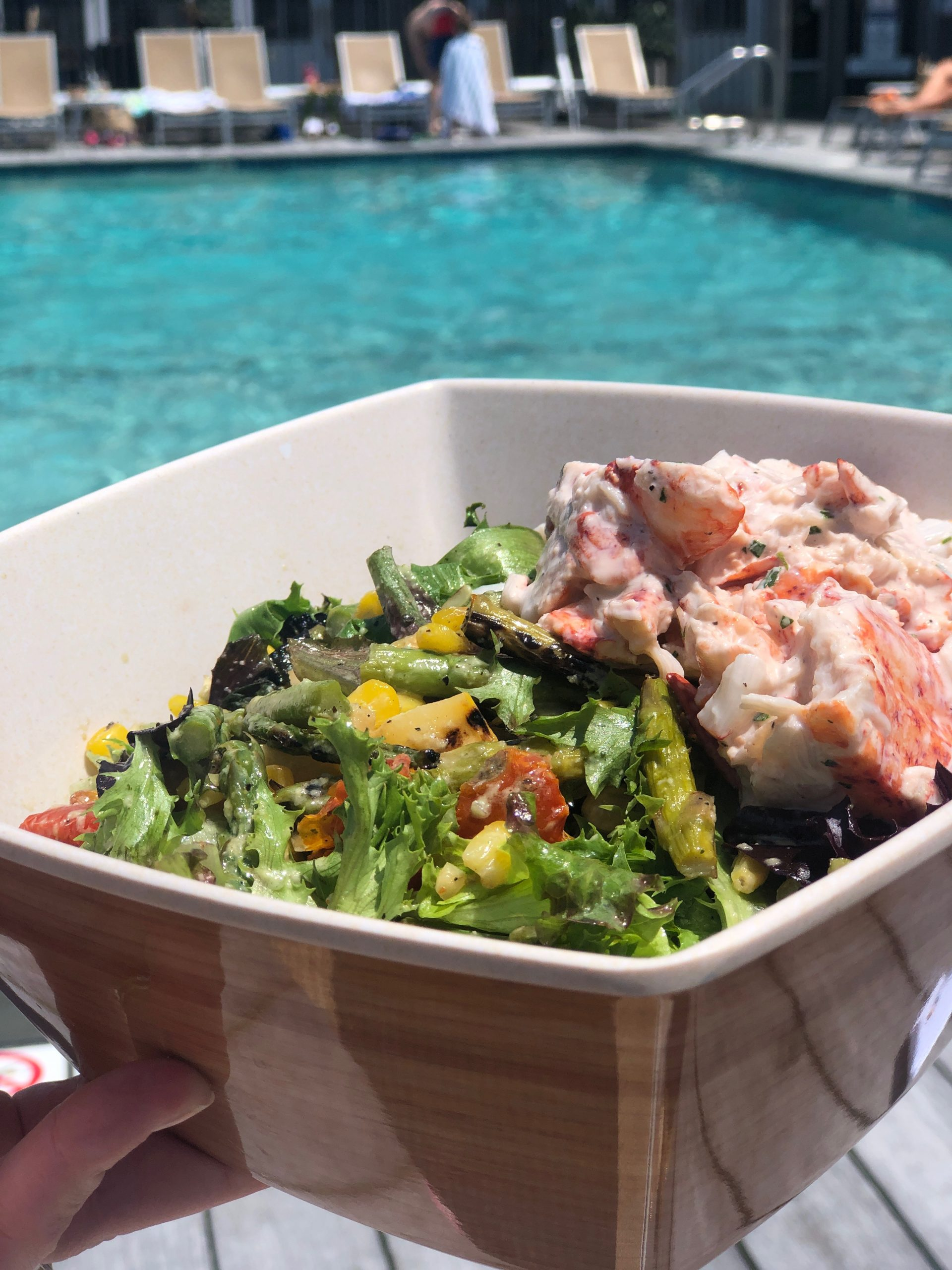 The Breeze Signature Salad topped with Lobster Salad at The Nantucket Hotel