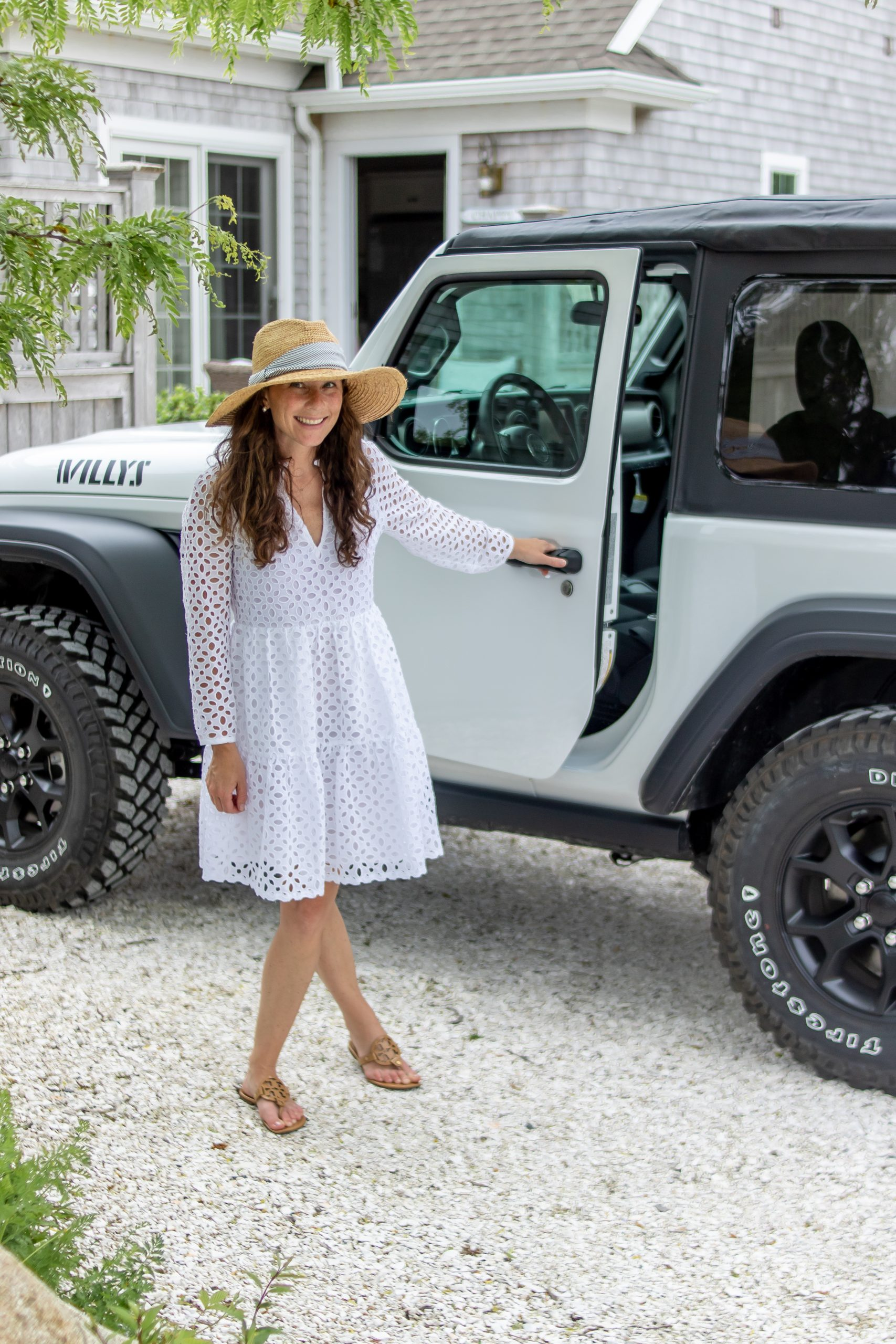 woman standing by Jeep in Martha's Vineyard