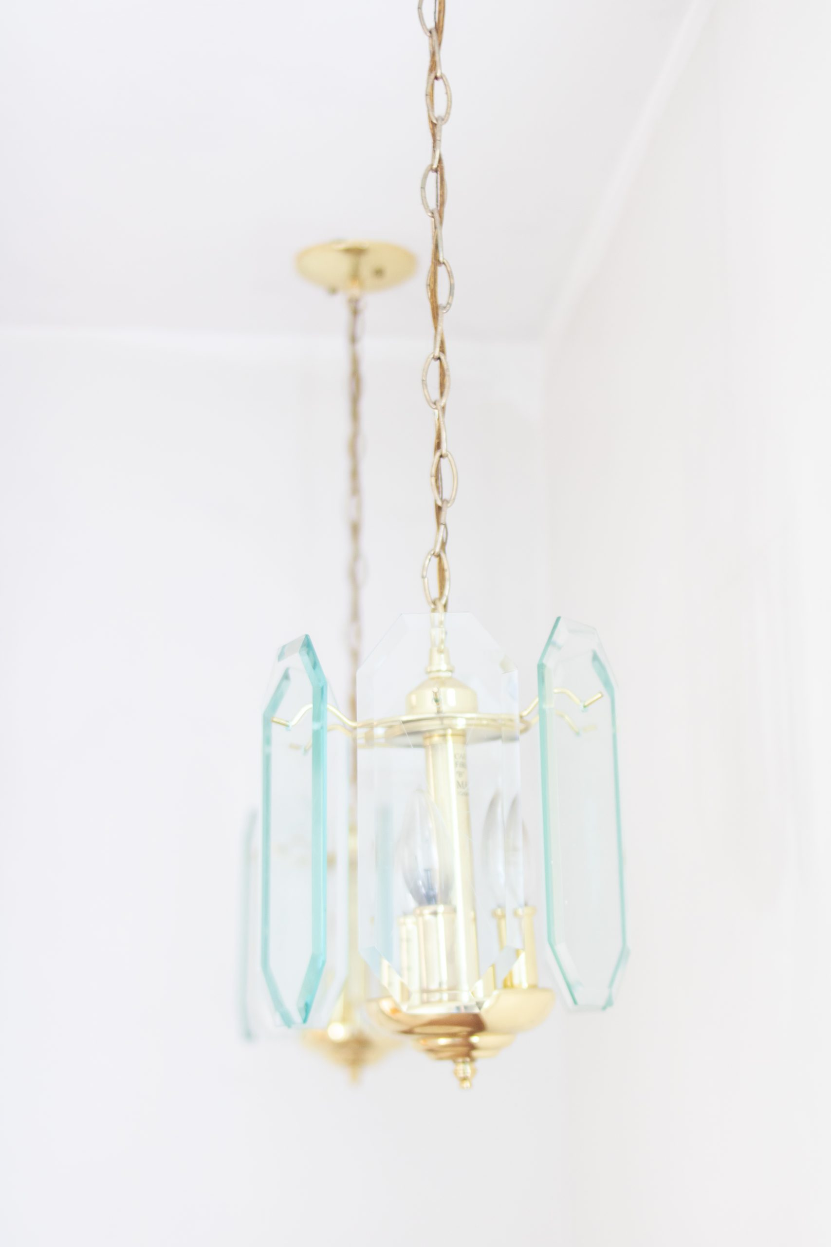 glass pendant light fixture 1970s