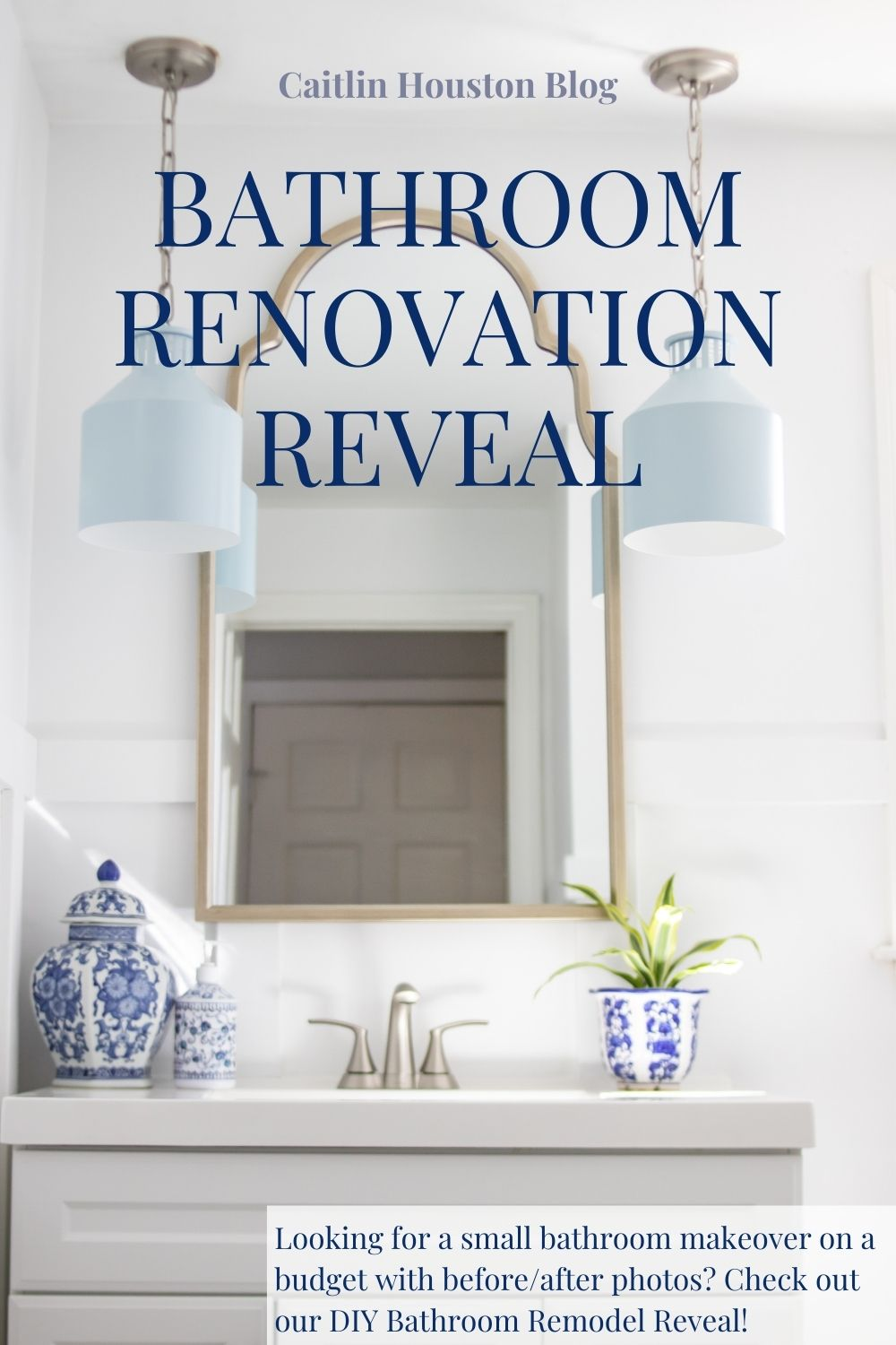 Bathroom Renovation Reveal - Small bathroom makeover on a budget with before/after photos - See a DIY Bathroom Remodel Reveal with Montauk Pendant Light Fixture in Light Blue, White Vanity, and more.
