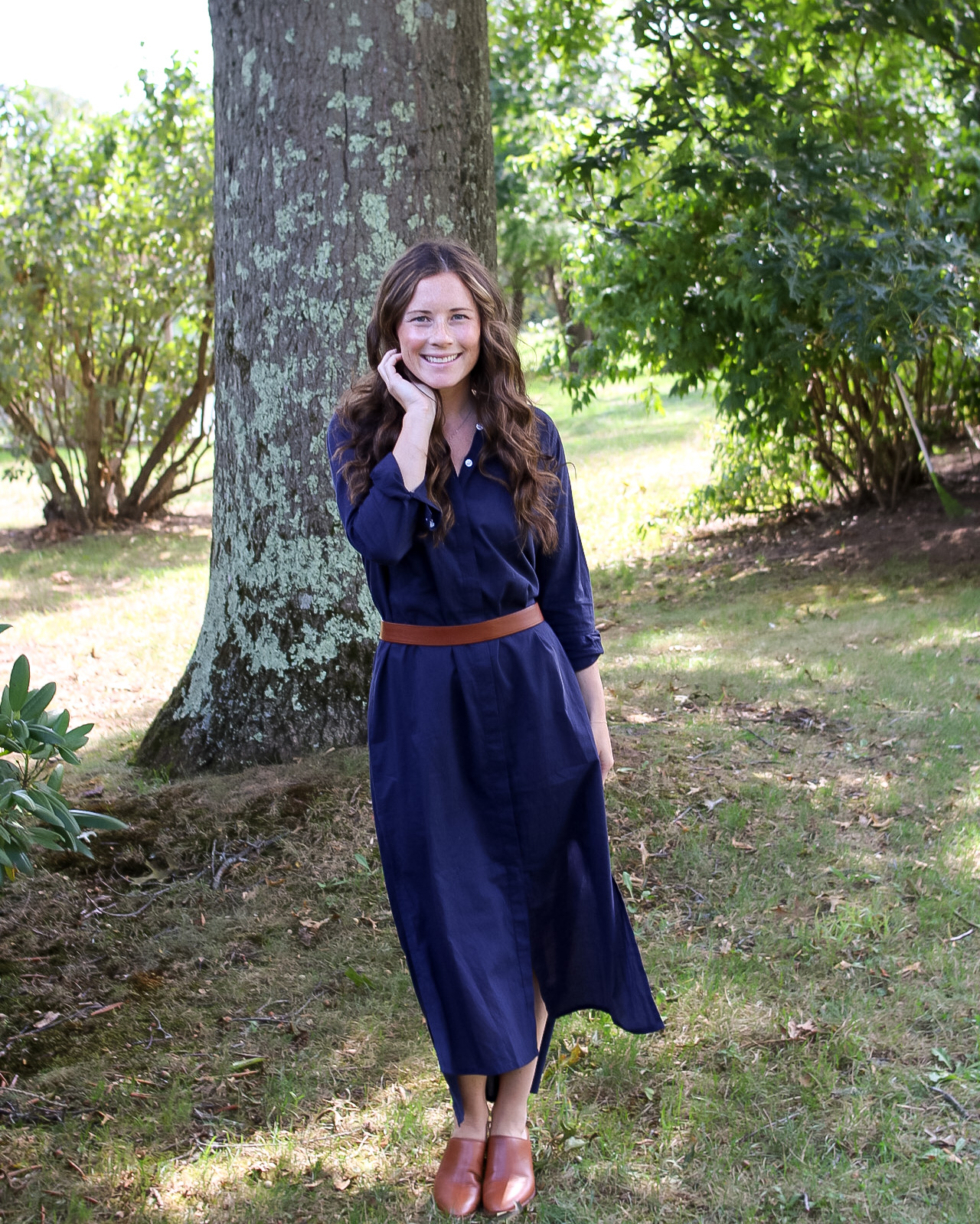Button Down Maxi with Leather Belt and Harper Mules