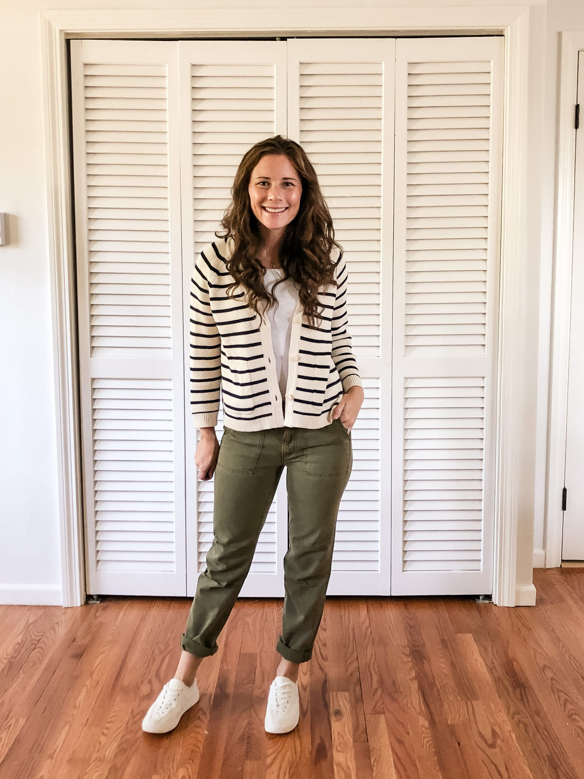 Striped V Neck Cardigan from JCrew with Olive Utility Pants Early Fall Outfit