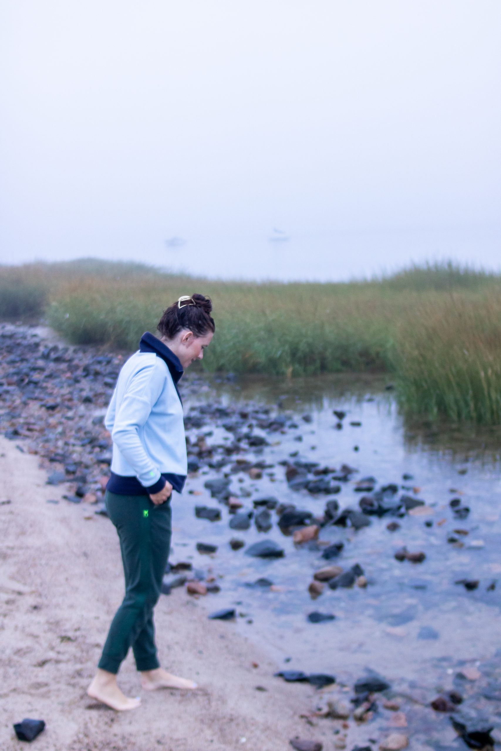 woman wearing dudley stephens at Private Beach at The Mansion Ocean Edge Resort Brewster MA