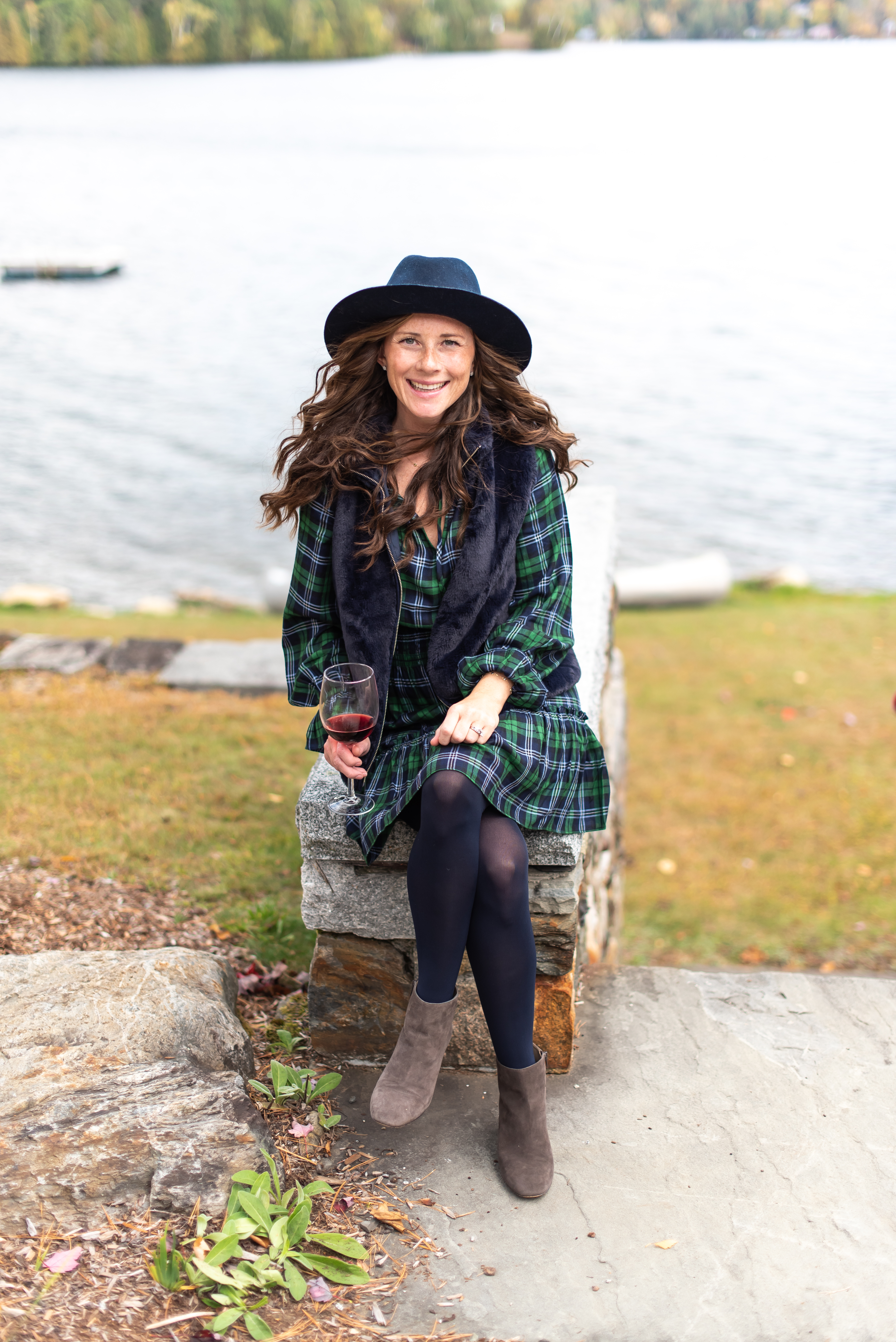 Caitlin Houston in Hat Attack Navy Hat with Plaid Sail to Sable Dress