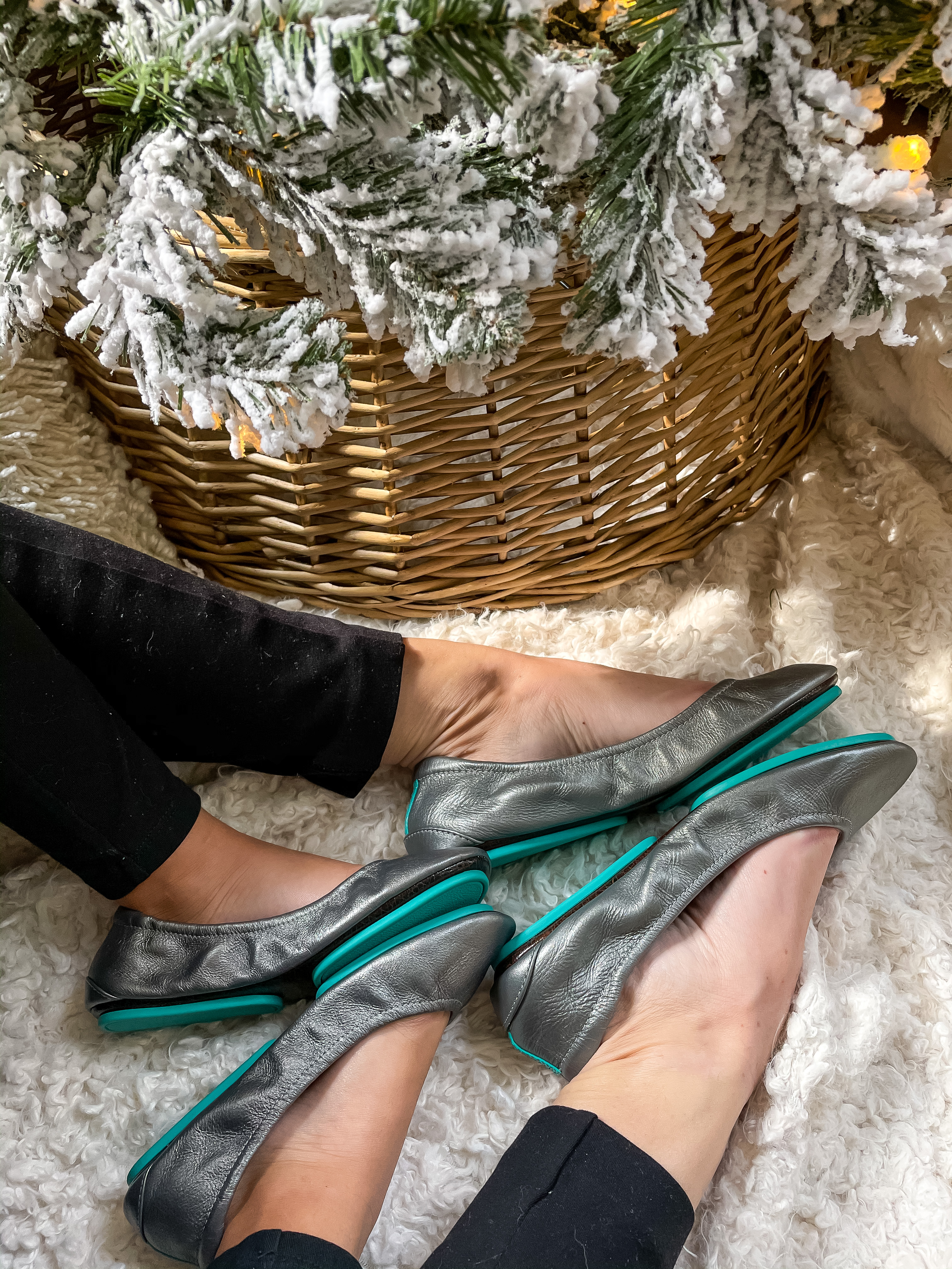 Mommy and me ballet flats Tieks teal bottom